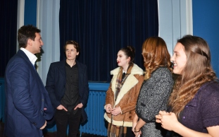 Dr Micahel Scott with Runshaw College students and Katrina Kelly