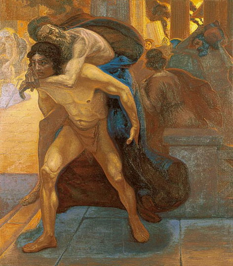 aeneas-saving-his-father-through-the-flames-of-troy