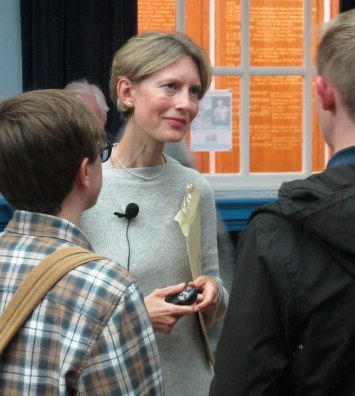 Dr Caroline Vout chatting with student members