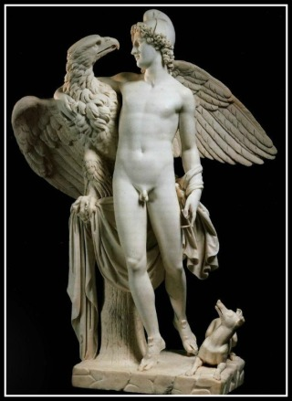 Zeus and Ganymede statue
