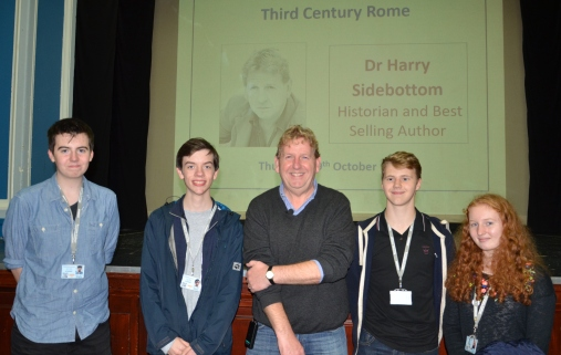 Dr Harry Sidebottom and Runshaw College students