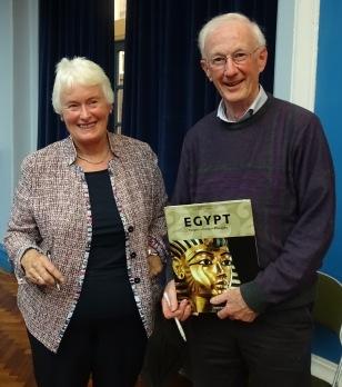 Dr Margaret Mountford and LSA CA member winning a raffle prize