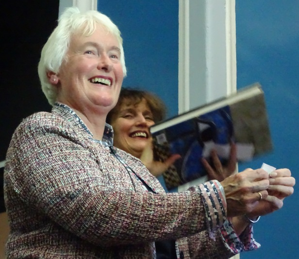 Dr Margaret Mountford announcing the winner of the raffle
