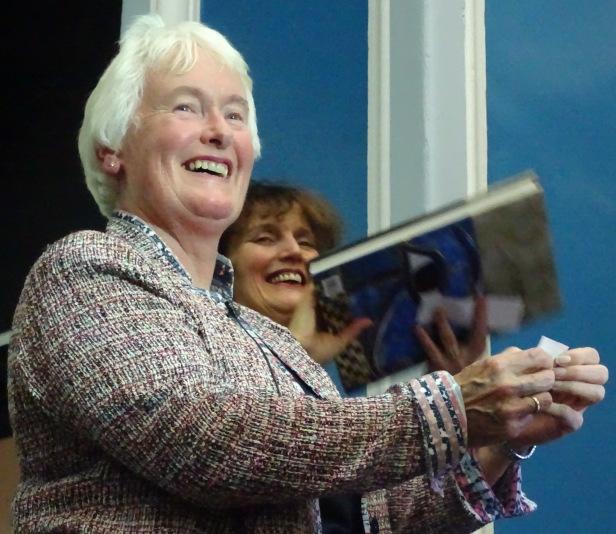Dr Margaret Mountford announcing the winner of the raffle