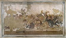 The Alexander mosaic. Floor mosaic depicting the battle between the armies of Alexander the Great and Darius III of Persia, found at the House of the Faun, in Pompeii. 313 x 582 cm, c.100 BC. Museo Archeologico Nazionale National Archaeological Museum, Na