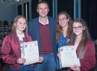 Runners up Alice and Anna with Prof Scott and Chair of LSA CA Katrina Kelly